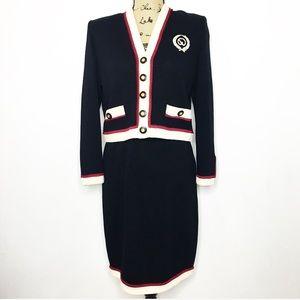 St. John Collection Wool Knit Skirt Jacket Set